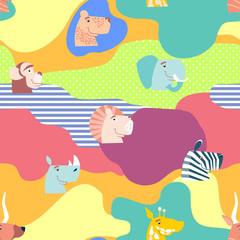 Vector seamless pattern, cute jungle animals. African animals.