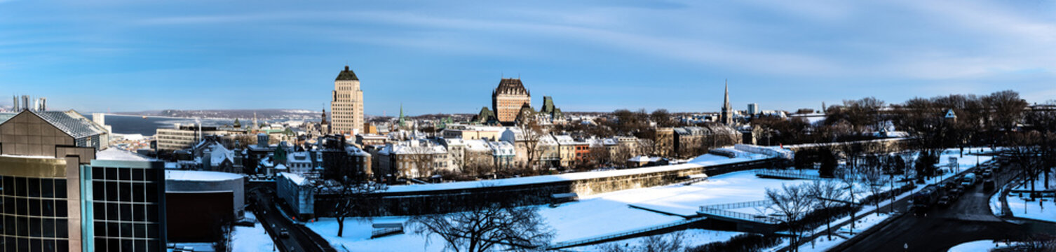 Panoramic view of old Quebec City at sunset in winter