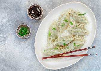 Korean dumplings with meat and vegetables on a white plate with sesame, soy sauce and green onions on a gray concrete surface. Asian cuisine. Selective focus
