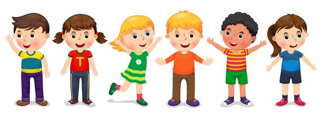 Children in different positions vector illustration