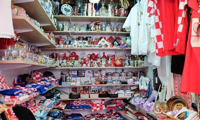 Croatian souvenirs for sale at gift store located in central farmers' market Dolac. Gornji Grad. Zagreb