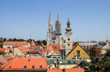 View on Roman Catholic Zagreb Cathedral and old town of croatian capital