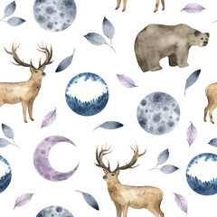 Seamless pattern with watercolor forest animals deer bear