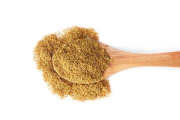 Fototapeta Ground cumin powder in wooden spoon isolated on white background obraz