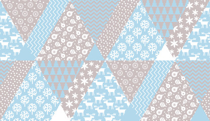 Tender blue and beige Christmas seamless pattern.
