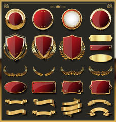 Luxury gold badge and labels design elements collection