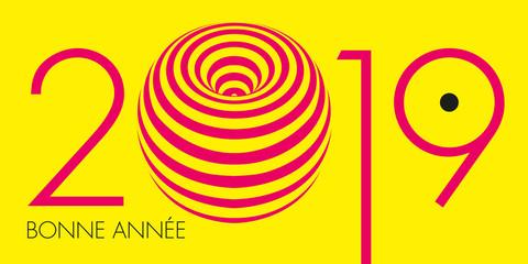 Carte de vœux 2019 artistique au graphisme rose, moderne et énigmatique, sur un fond jaune primaire