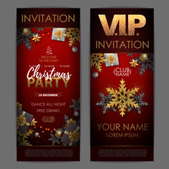 Christmas poster with golden snowflakes. Invitation design.