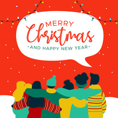 Christmas and New Year diverse people group card