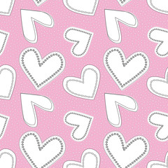 Cute white and black line art doodle hearts as seamless vector pattern on textured bubbly pink background. Great for valentine projects, fabric, home decor, scrapbooking, giftwrap, stationery