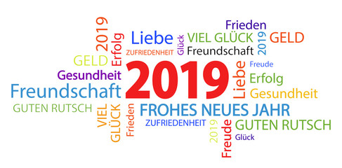 word cloud with new year 2019 greetings