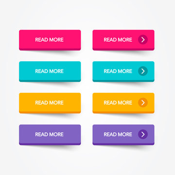 Read More colorful 3d button set on white background. Flat line button collection. Vector web element