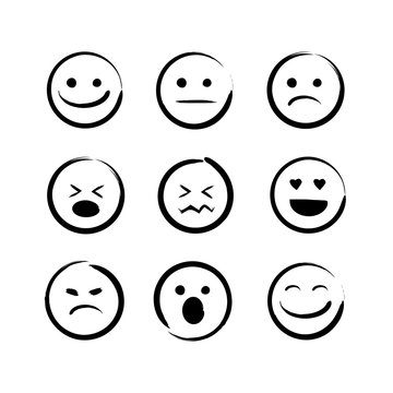 vector illustration set of hand drawn emojis faces. Doodle emoticons, ink brush icon on a white background.