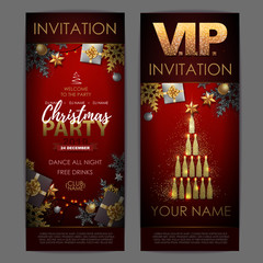 Christmas poster with golden champagne bottles. Invitation design. Pyramid of champagne bottles