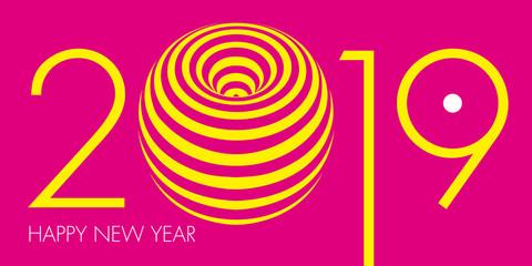 Carte de vœux 2019 artistique au graphisme jaune, moderne et énigmatique, sur un fond rose primaire