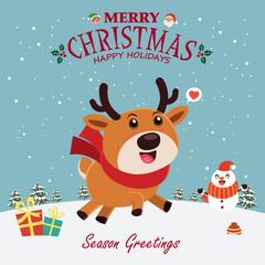 Vintage Christmas poster design with vector snowman, reindeer, Santa Claus, elf characters.