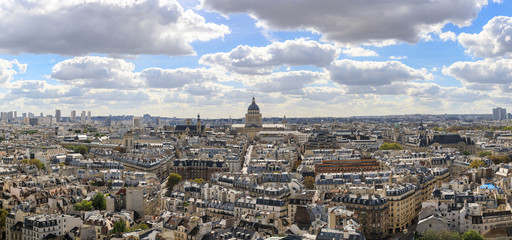 Aerial panoramic view of the tower of Les Invalides museum in Paris