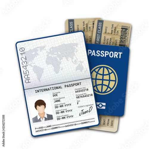 International passport and airline boarding pass ticket  Female
