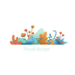 Plant leaves and flowers. Abstract natural banner isolated on white background. Floral decorative elements for  grainy style. Hand drawn flat, vector design with grain textured