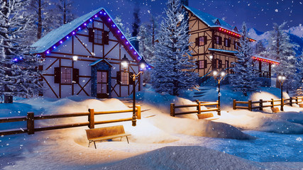 Wall Mural - Cozy snowbound alpine village high in mountains with half-timbered rural houses and christmas lights at winter night during snowfall. With no people 3D illustration.