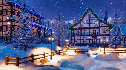 Wall Mural - Cozy alpine mountain township with illuminated half-timbered houses and snow covered square with street lights at snowfall winter night. With no people 3D illustration.