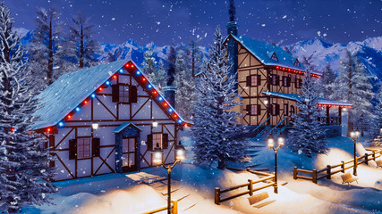 Cozy snowbound alpine township high in mountains with illuminated half-timbered rural houses at magical winter night during snowfall. With no people 3D illustration.