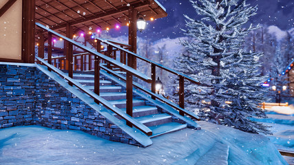 Wall Mural - Snow covered steps on entrance to half-timbered rural house illuminated by christmas lights in snowbound alpine mountain village at snowfall winter night. 3D illustration.