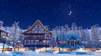 Wall Mural - Dreamlike winter scenery with cozy half-timbered rural houses among snow covered fir trees in snowbound alpine mountain village at serene starry night. 3D illustration.