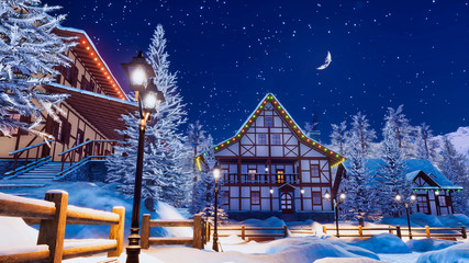 Cozy snowbound european town among alpine mountains with traditional half-timbered houses illuminated by christmas lights and street lamps at winter night. 3D illustration.