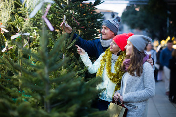 Mom, dad and daughter buying New Year tree