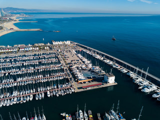 View from drone of ports of Barcelona, Spain