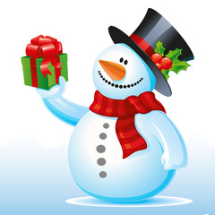 Happy snowman with a gift in hand, Cartoon on a white background,