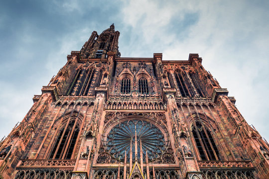Huge tower and elegant exterior architecture of Notre dam of Strasbourg cathedral in Strasbourg, France
