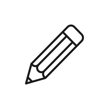 Black isolated outline icon of pencil on white background. Line icon of pencil.