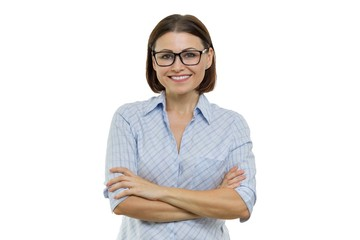 Positive mature woman on white isolated background. Confident female smiling arms crossed, businesswomen, specialist, expert