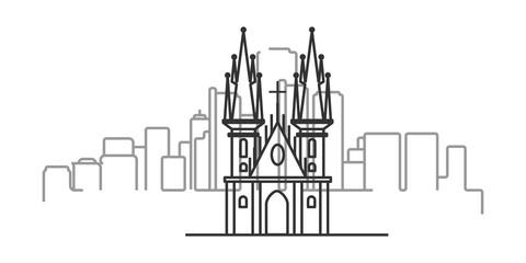 cityscape of Prague outline illustration