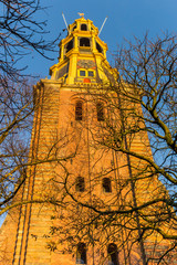 Wall Mural - Tower of the A church at sunset in Groningen, The Netherlands