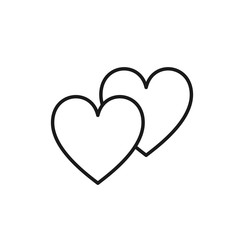 Black isolated outline icon of two hearts on white background. Line Icon of two hearts. Symbol of love.