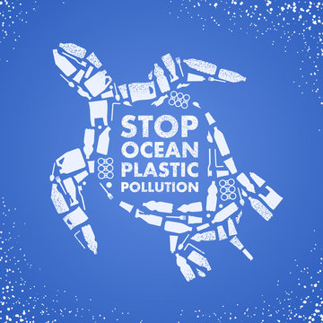 Stop ocean plastic pollution. Ecological poster. Turtle composed of white plastic waste bag, bottle on blue background.