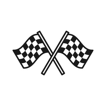 Black isolated outline icon of checkered flags on white background. Line Icon of two waving sport flags.