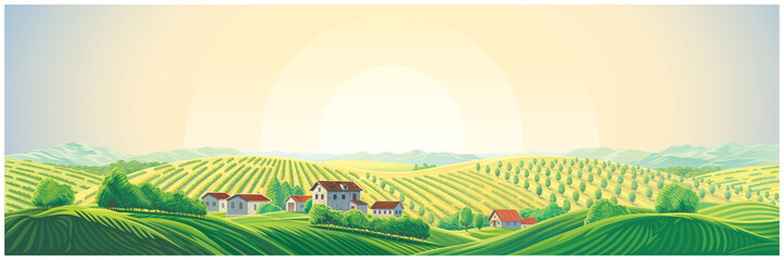 Printed kitchen splashbacks Beige Rural panoramic landscape with a village and hills with gardens and fruit trees