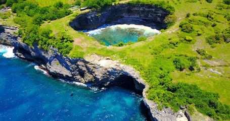 Broken Beach In Nusa Penida, Indonesia - Close Overhead View