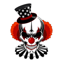 Clown skull in a hat with stars, red hair, jabot. Black and white vector image.