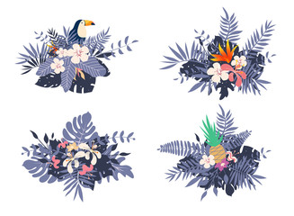 Different bouquets with tropical exotic leaves and flowers