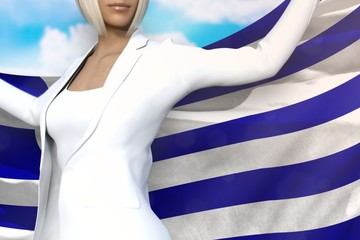sexy business lady holds Greece flag in hands behind her back on the blue sky background - flag concept 3d illustration