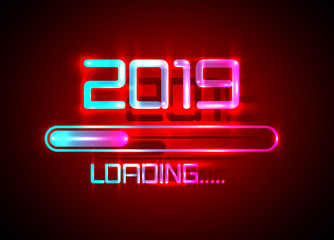 2019 Happy new year with loading icon blue neon style. Progress bar almost reaching new year's eve. Vector illustration with 2019 loading. Isolated or dark red light background