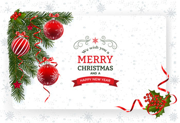 Christmas background with decoration and paper. Decorative Christmas festive background with Christmas balls stars and ribbons.