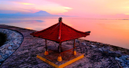 Sanur Beach - Asian Gazebo On Coastal Walkway Overlooking Ocean Coast During Pink Colored Sunrise - Bali, Indonesia