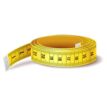 Yellow measure tape icon, health and body care concept, loss weigh, sewing clothes, isolated on white background, vector illustration
