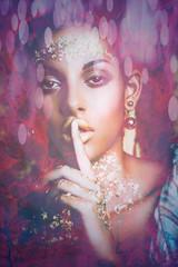 sensual black woman portrait composite photo